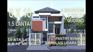 tren rumah minimalis split level 1.5 lantai 6x10 meter  di lahan 6x12 meter 3 kamar 3 toilet gudang