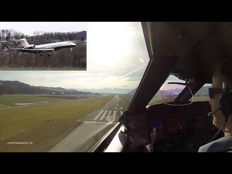 Captain's View of Landing Gulfstream G650 in Eye-Catching Livery at Bern