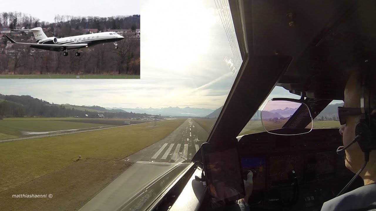 Captains View of Landing Gulfstream G650 in EyeCatching Livery