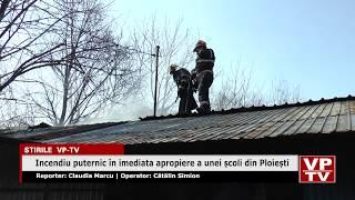 Incendiu puternic în imediata apropiere a unei școli din Ploiești