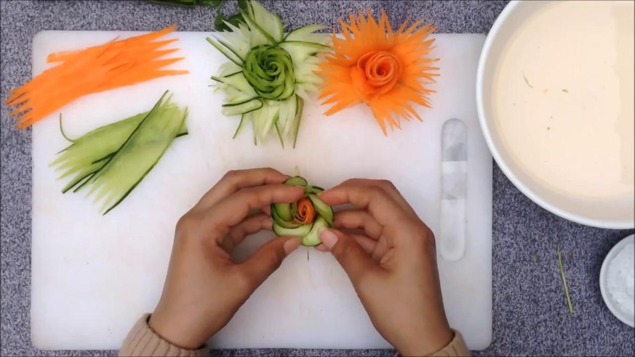 Amazing Design of Cucumber & Carrot Flower Garnish   Vegetable Rose Decoration DIY