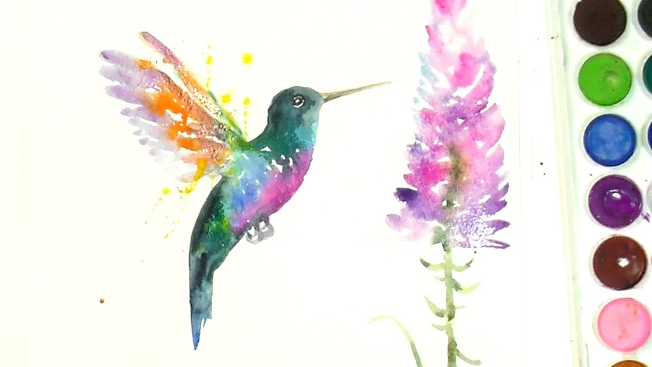 Paint And Color A Beautiful Hummingbird- A Watercolour Speed Painting -  YouTube
