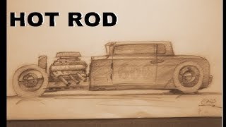 How to draw a Hot rod side view