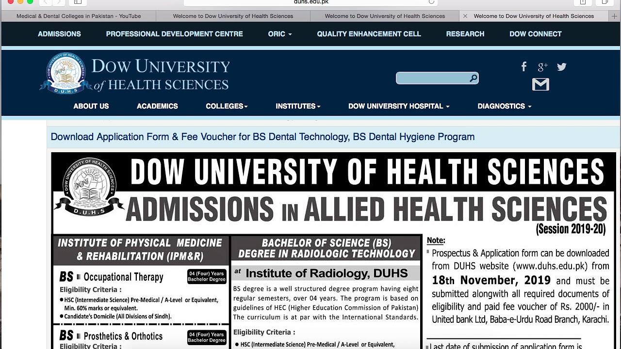 DOW UNIVERSITY OF HEALTH SCIENCES- DPT & ALLIED HEALTH SCIENCES PROGRAMS on hamdard university karachi, sindh medical college karachi, aga khan university karachi, fatima jinnah medical college karachi,