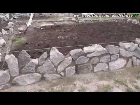 Как ложить камень дикарь / Кладка гранитного камня