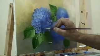 pintando hortênsias - com Escudeiro