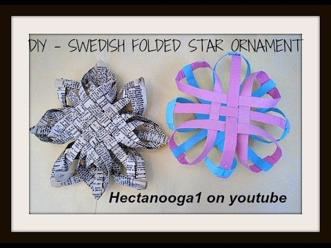 DIY SWEDISH FOLDED STAR ORNAMENT, recycled ornament. paper ornament, paper crafts