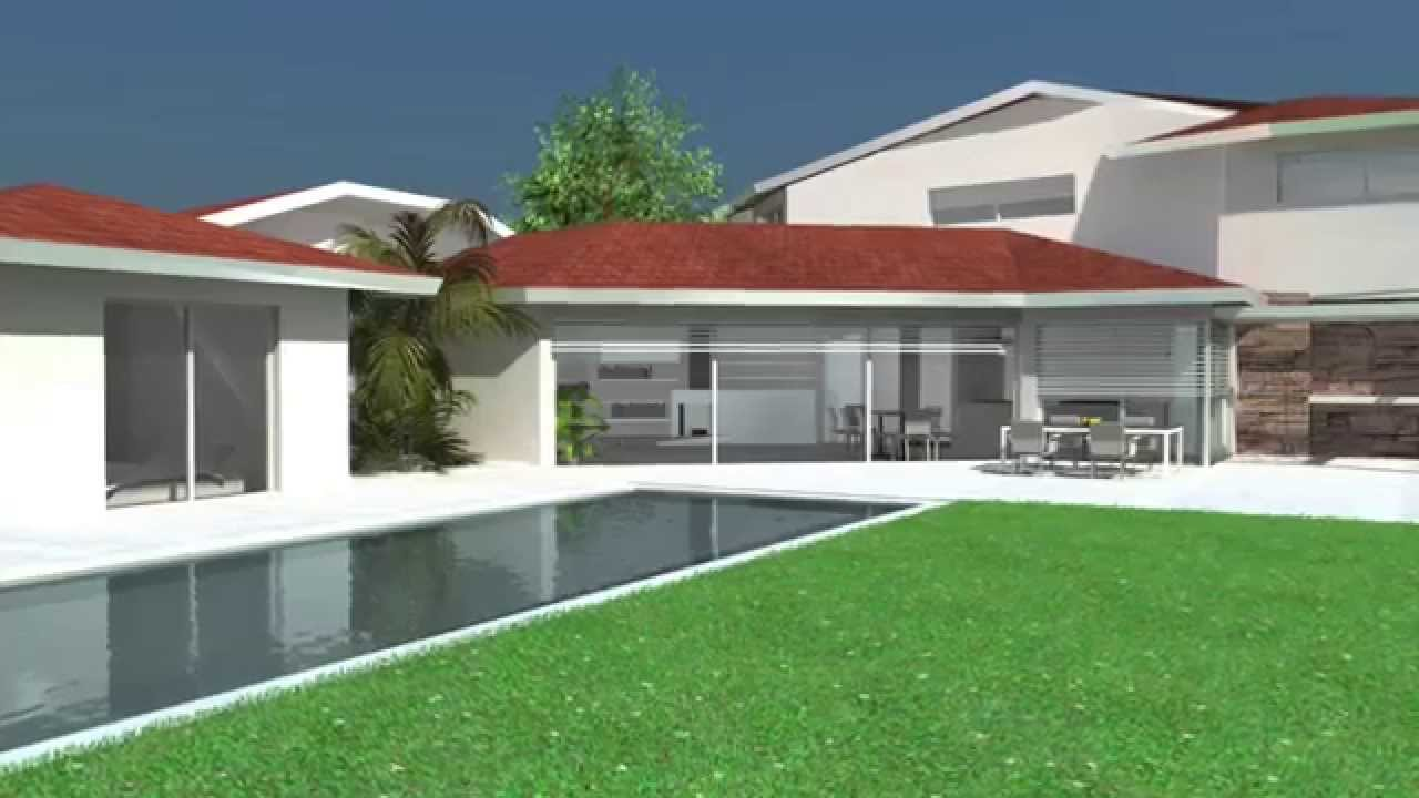 Maison contemporaine dedans dehors de plain pied patios youtube - Plan de maison contemporaine plain pied ...