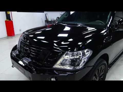 Nissan patrol Y62 2017 full body wrapped in metallic black gloss by RoyalCar3M