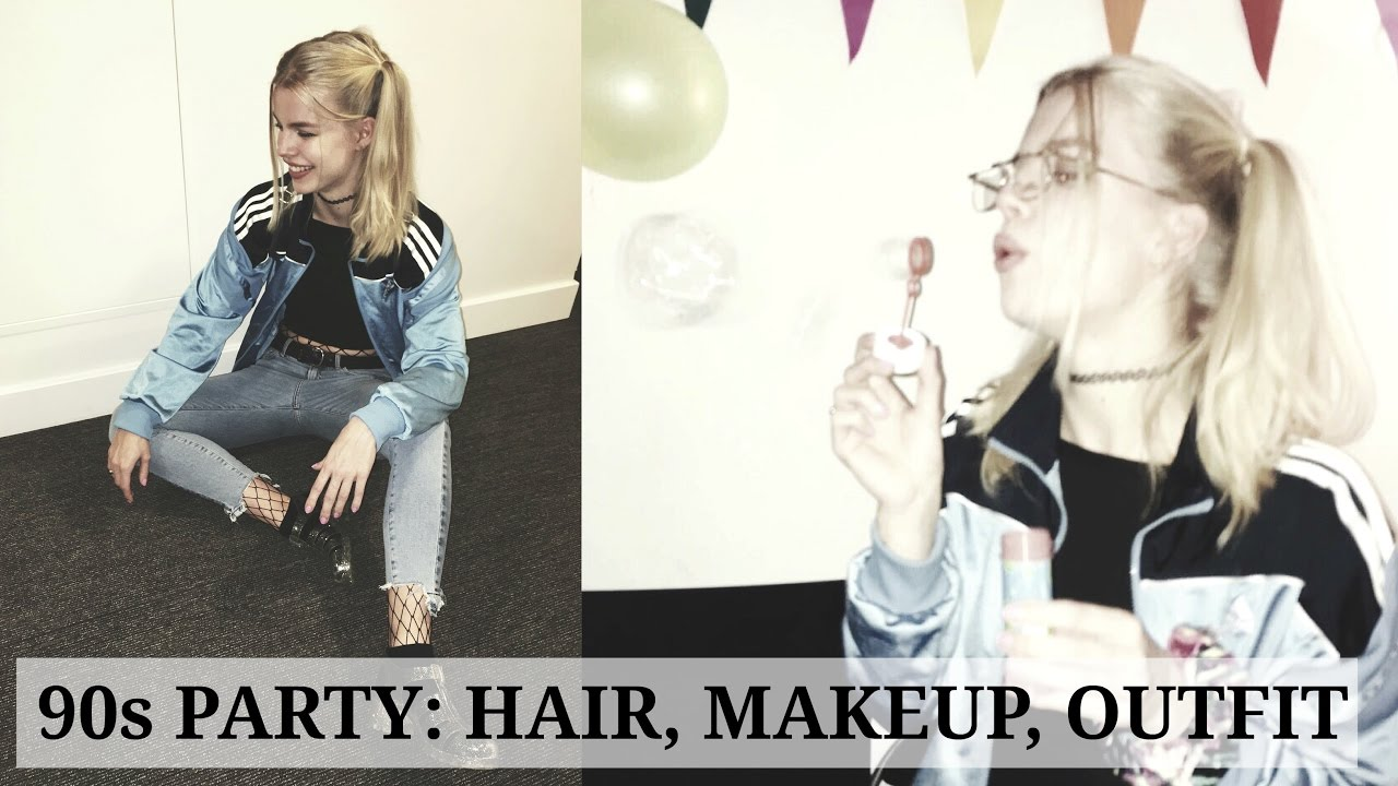 Get Ready With Me 90s Party Hair Makeup Outfit Youtube
