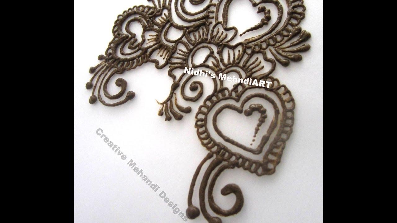 Simple Heart Henna Designs: Simple Arabic Heart Patch Henna Mehndi Design Tutorial