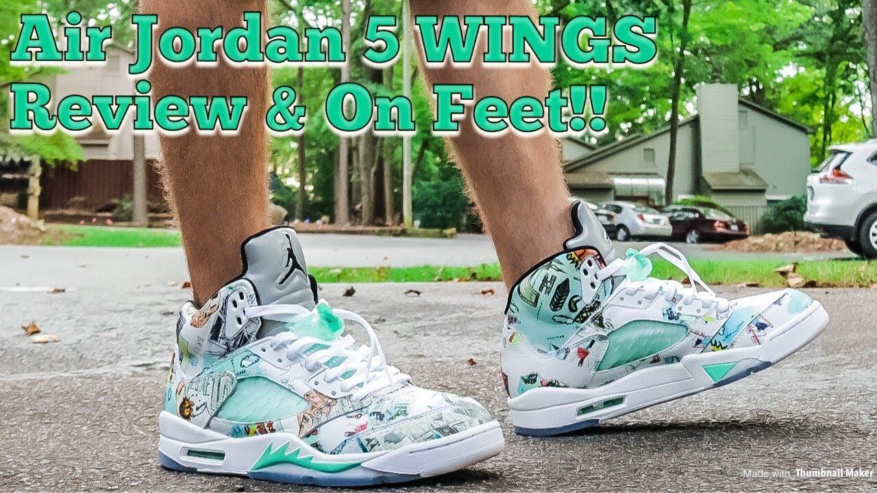 AIR JORDAN 5 WINGS REVIEW   DOPE ON FOOT!! - YouTube ddc932939