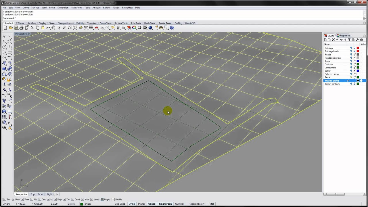 Rhino - Projecting roads onto a NURBS surface
