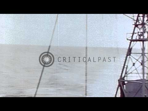President Harry S. Truman of United States on deck of USS Augusta, on his visit t...HD Stock Footage