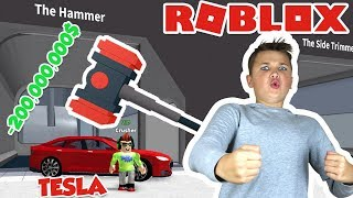 CRUSHING MY TESLA WITH A GIANT HAMMER in ROBLOX CAR CRUSHERS 2!