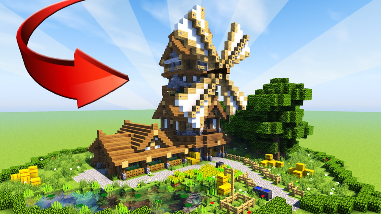 minecraft: how to build epic wooden house - medieval windmill