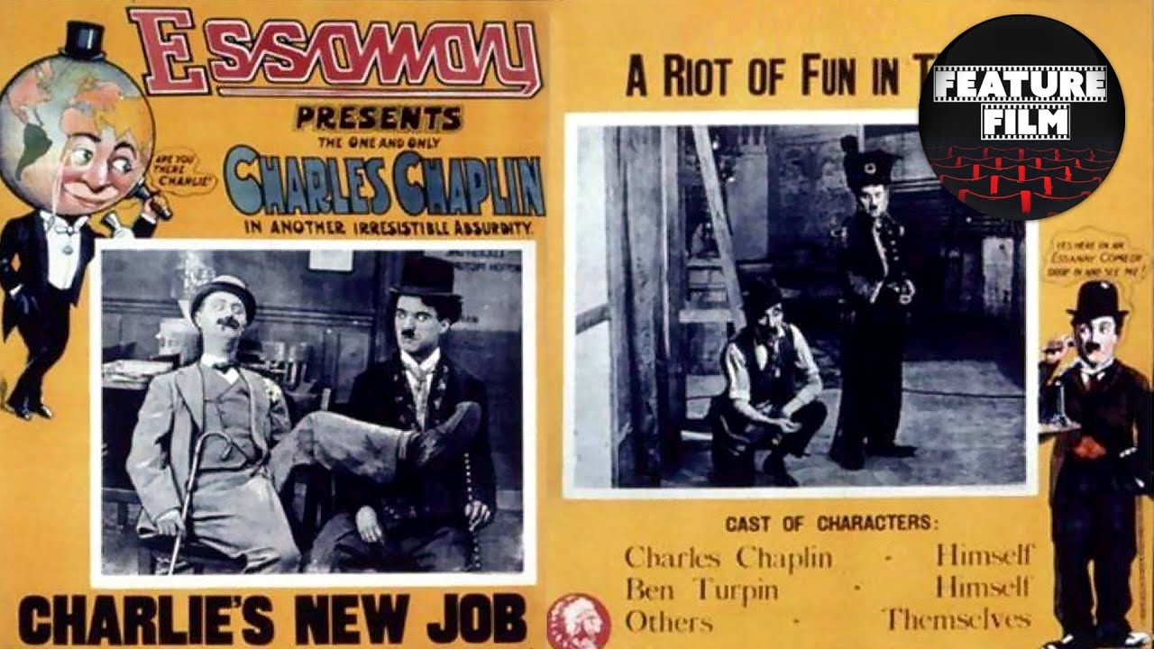Charlie Chaplin: His New Job (1915) | Ben Turpin & Charlotte Mineau | Silent comedy film