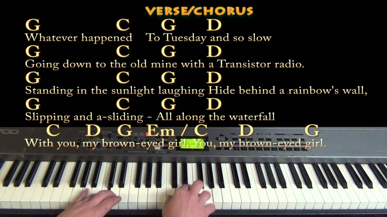 Brown Eyed Girl Van Morrison Piano Cover Lesson in G with Chords/Lyrics