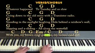 Brown Eyed Girl (Van Morrison) Piano Cover Lesson with Lyrics