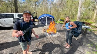 Overnight Camping In FLΟODED SWAMP!! (Alligators)