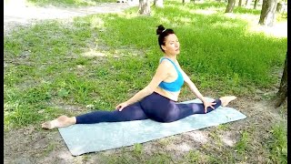 stretching splits and training flexible legs. Gymnastics and contortion challenge. Training yoga