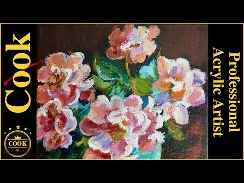 Pink Roses by with Turquoise Vase  Acrylic Painting Tutorial with Ginger Cook
