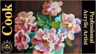 Pink Roses by Curran Acrylic Painting Tutorial for Beginner and Advanced Artists with Ginger Cook