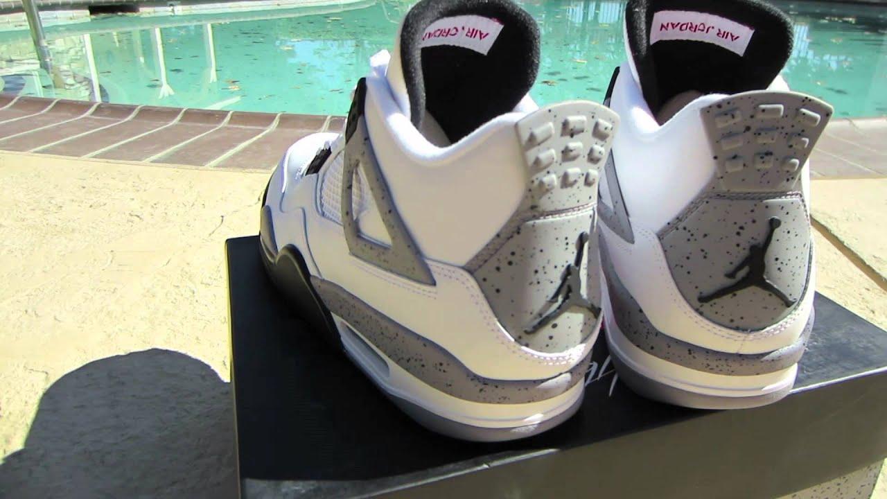 Authentic Nike Air Jordan 4 2013 Retro White Black-Cement Grey 3
