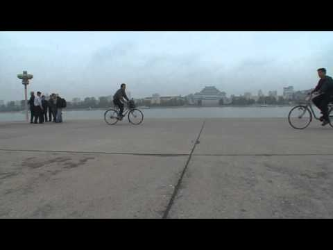 North korea documentary: Juche tower bicycle1 North Korea Pyongyang