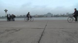 North korea documentary: Juche tower bicycle1 North Korea Pyongyang