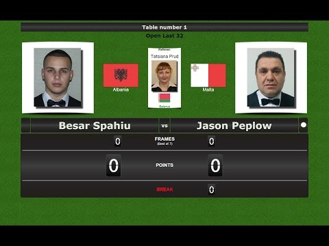 Snooker Open Last 32 : Besar Spahiu vs Jason Peplow