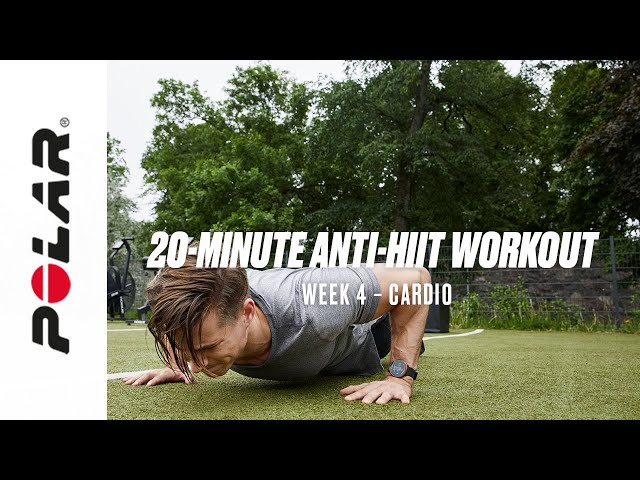 20-Minute Anti-HIIT Cardio Workout (At home, Dumbbell workout, Week 4) | Polar