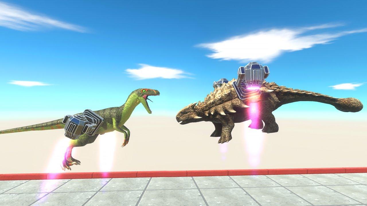 Jet Pack Carnivore vs Herbivore Dinosaurs - Animal Revolt Battle Simulator