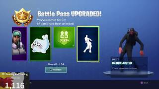 Fortnite Season 4 All Levels of Battle Pass and rewards.