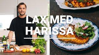 Familjerecept - Saftig, orientalisk och smakrik lax i ugn med harissa
