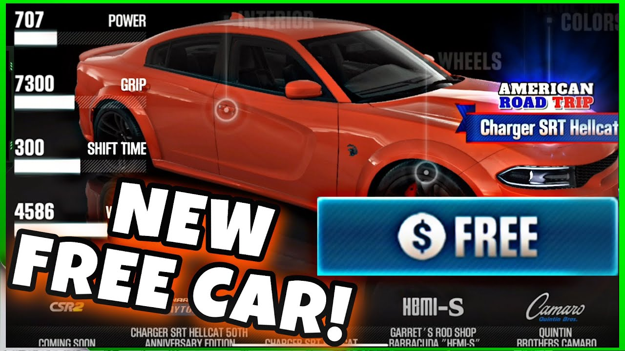 FREE CAR AMERICAN ROAD TRIP CHARGER SRT HELLCAT! | CSR RACING 2