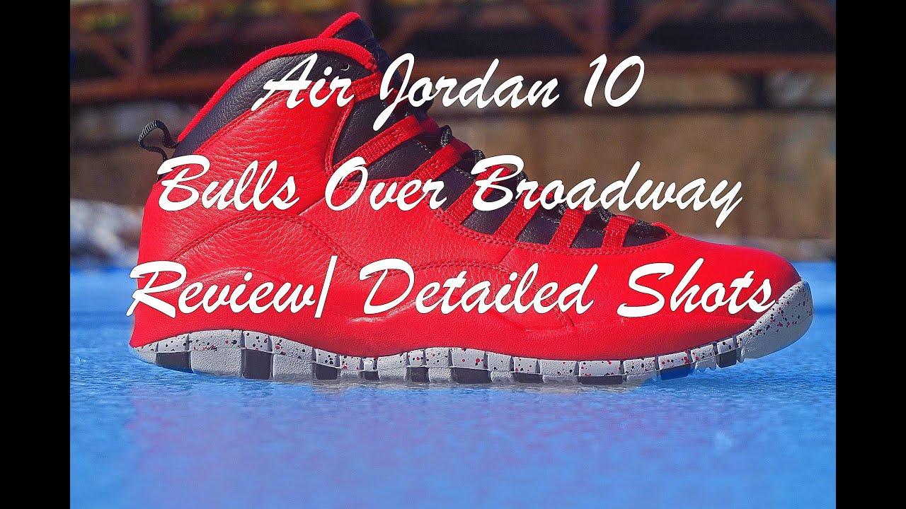 5835c505f21e92 Air Jordan 10 Bulls Over Broadway  Gym Red Review  Detailed Shots ...
