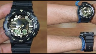 CASIO STANDARD AEQ-100BW-9AV BLACK GOLD - UNBOXING