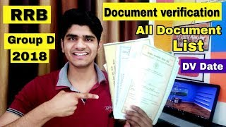 RRB Group 'D' Document Verification 2018 | All Document List | DV Date