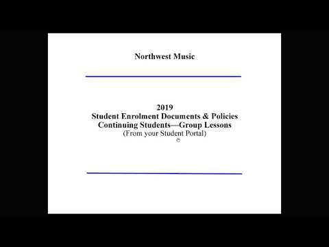Northwest Music - Tutorial: 2019 Student Enrollment DP Continuing Students Group Lessons