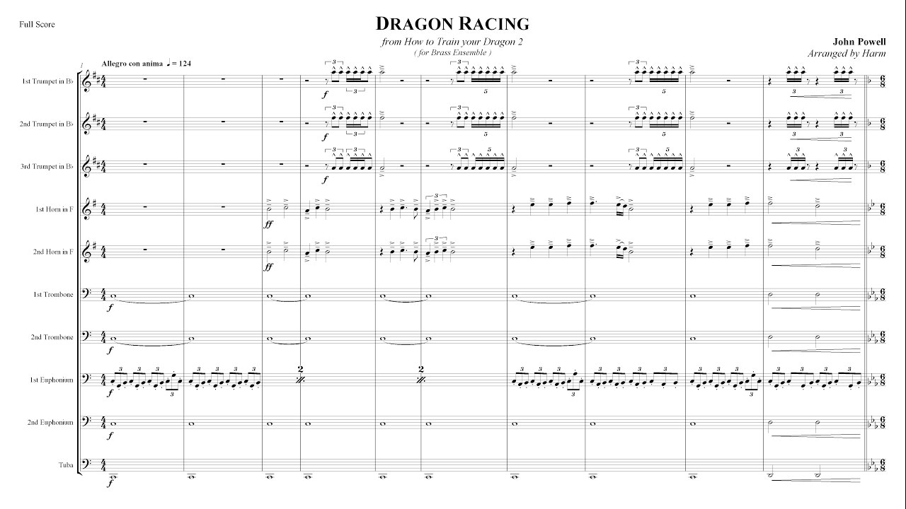 how to train your dragon dragon racing for brass ensemble