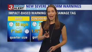 New severe thunderstorm warning categories and flood products