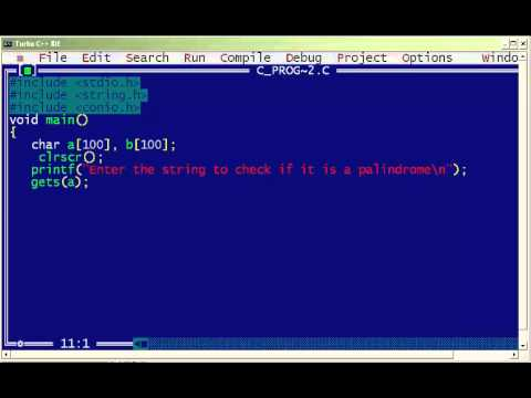 C Program For Palindrome String Youtube