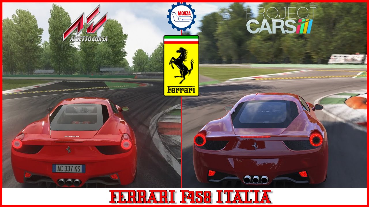assetto corsa vs project cars mod ferrari 458 at monza youtube. Black Bedroom Furniture Sets. Home Design Ideas