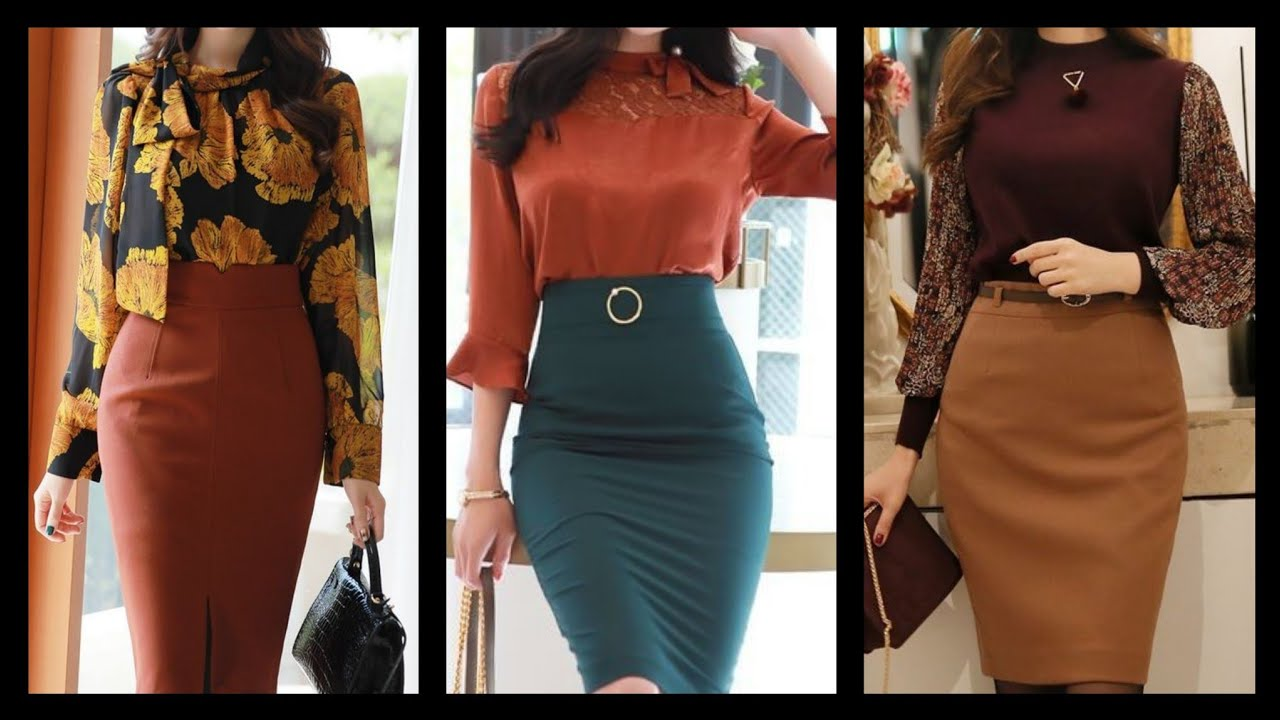 latest Attractive And Stylish 20 Office wear pencil skirt designs with  blouses and tops