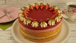 Fistikli Cilekli Bayram Pastasi Tarifi (Erdbeer Pistazien Torte)