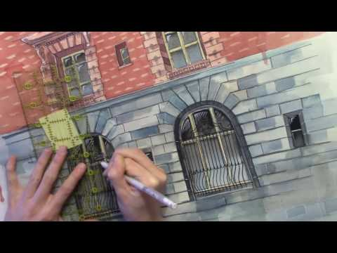 Architecture WATERCOLOR Speed Painting of Portland Building