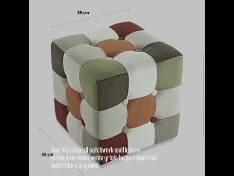 Sconto versa puff cubico red patchwork cm
