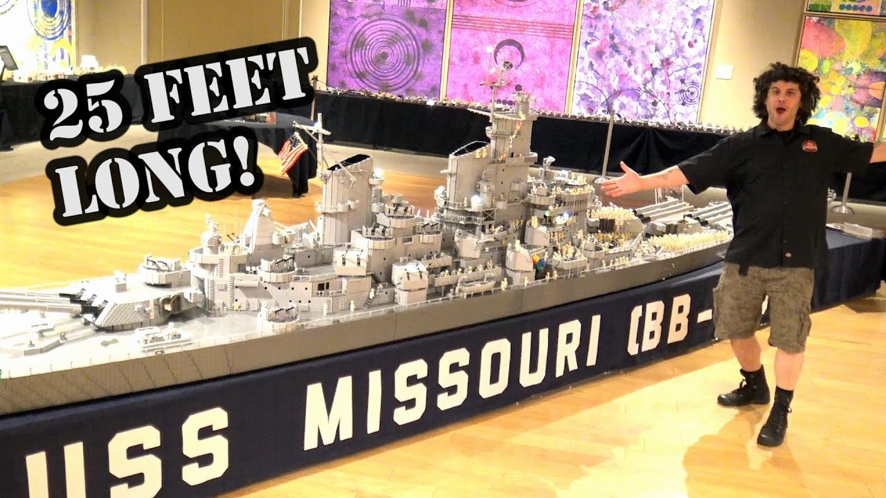 Gigantic Lego Wwii Battleship Uss Missouri By Brickmania Youtube
