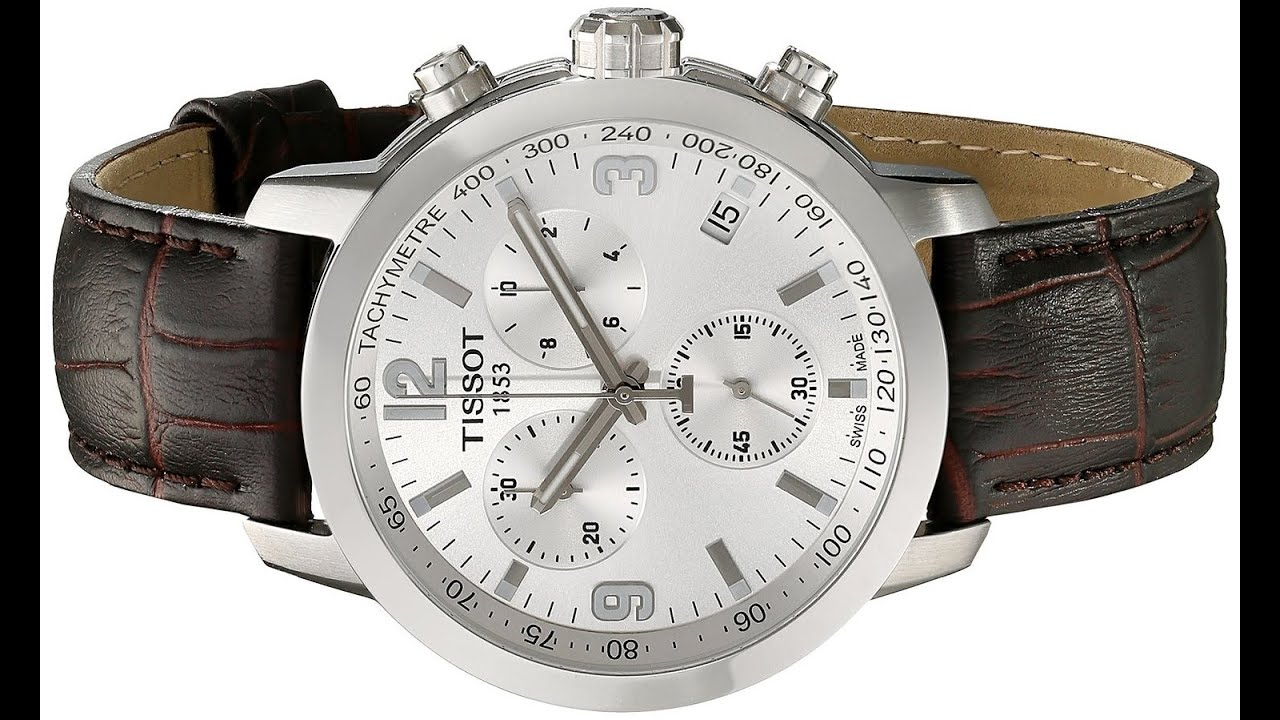 424b4e6a7 Tissot Men's TIST0554171603700 PRC 200 Chronograph Stainless Steel Watch  with Brown Leather Band